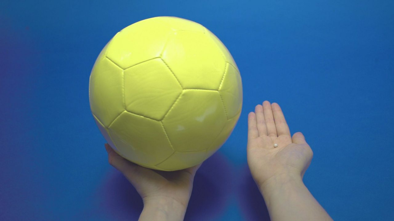 STEP 2: The football represents the Sun and the sticky tack is the Earth. Compare the two in size.