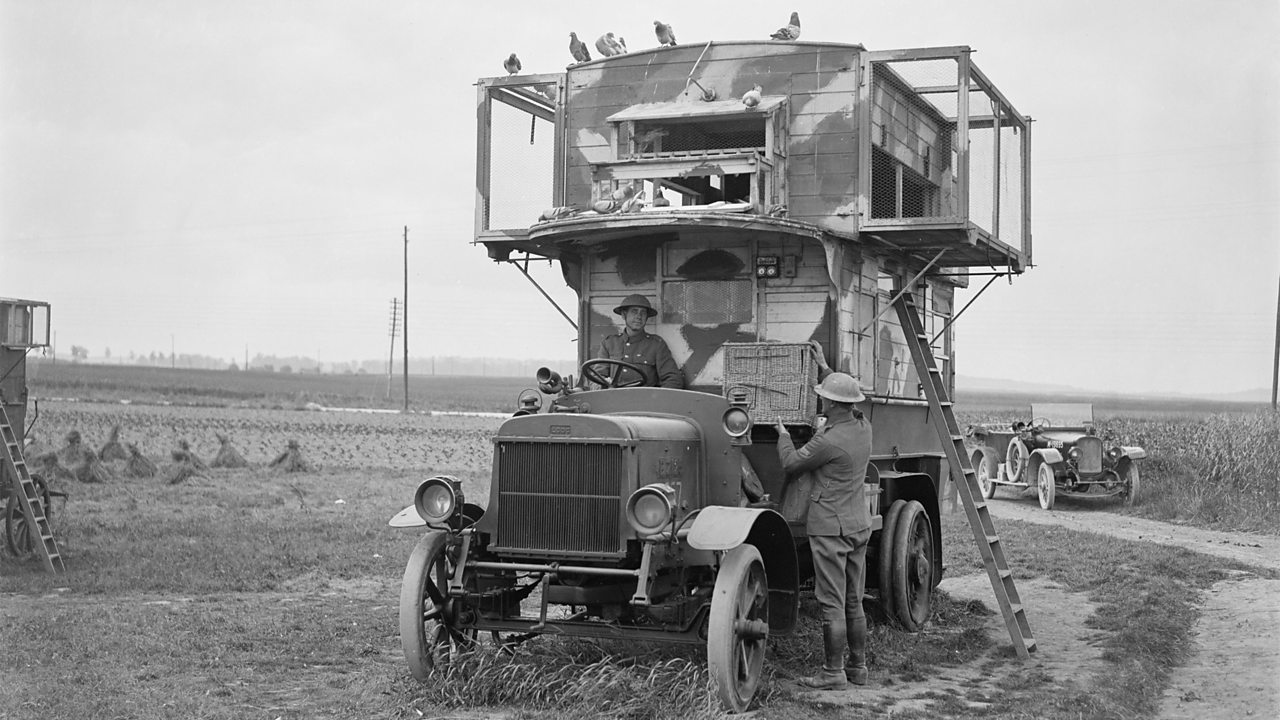 A former London motor bus camouflage-painted and used as a travelling loft for carrier pigeons Pernes 26 June 1918