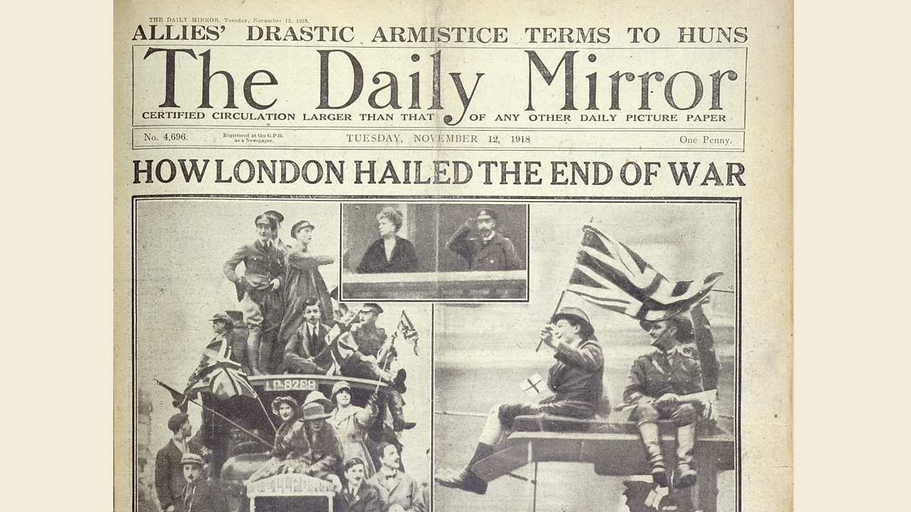 A newspaper front cover saying that WW1 has finished