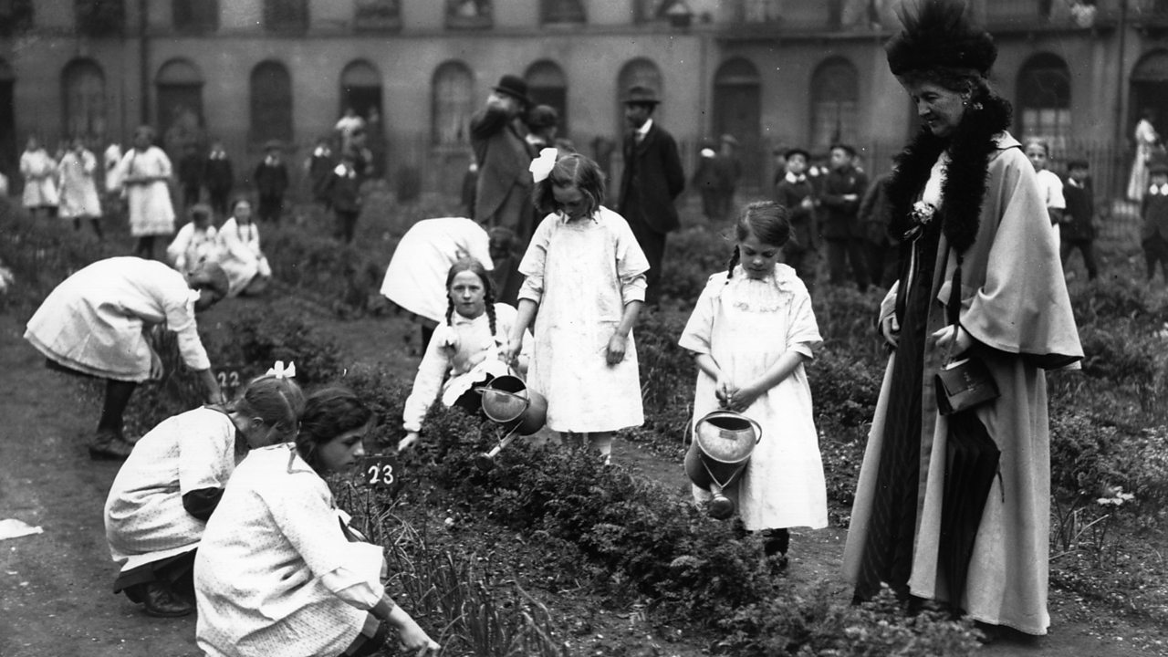 A photograph of children cultivating vegetable patches during World War One