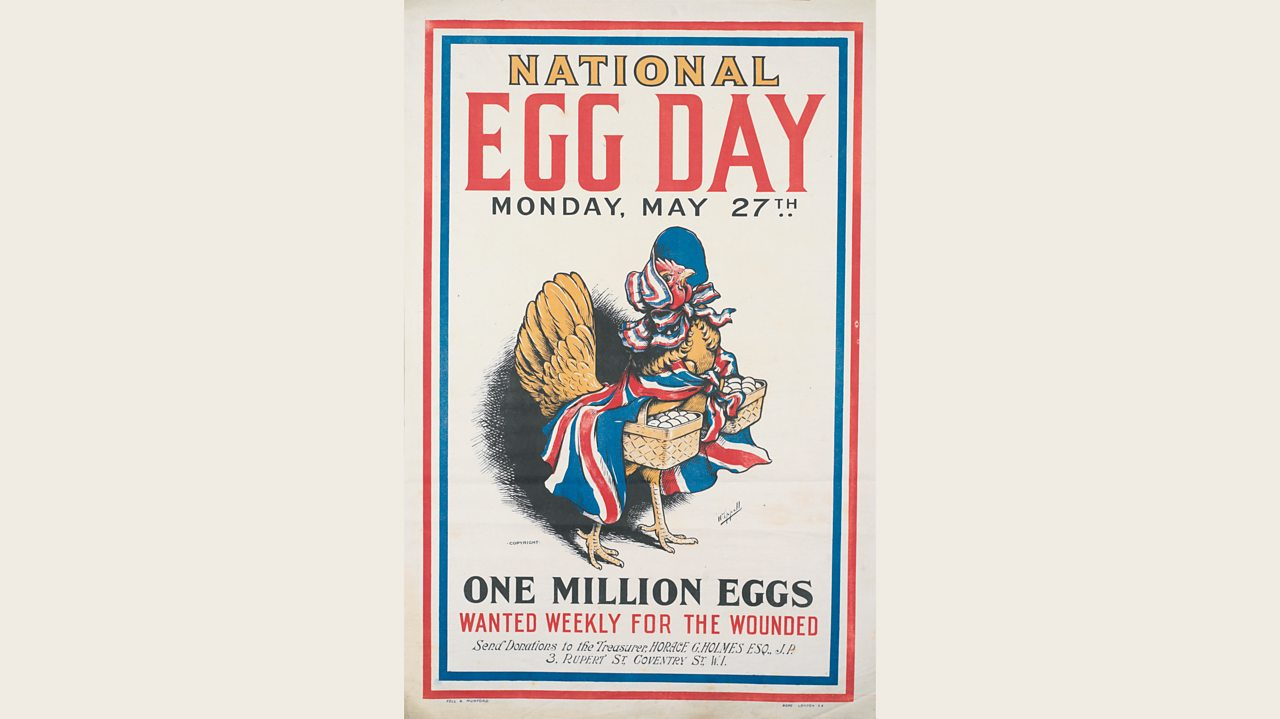 A World War One poster encouraging people to collect eggs for wounded soldiers