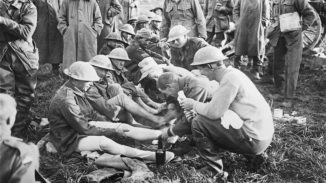 Soldiers during a foot inspection in World War One
