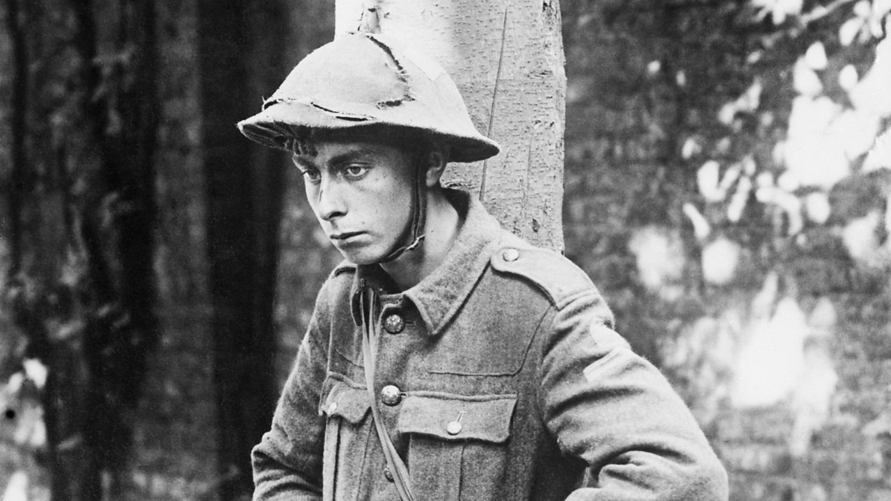 A shell shocked soldier in World War One