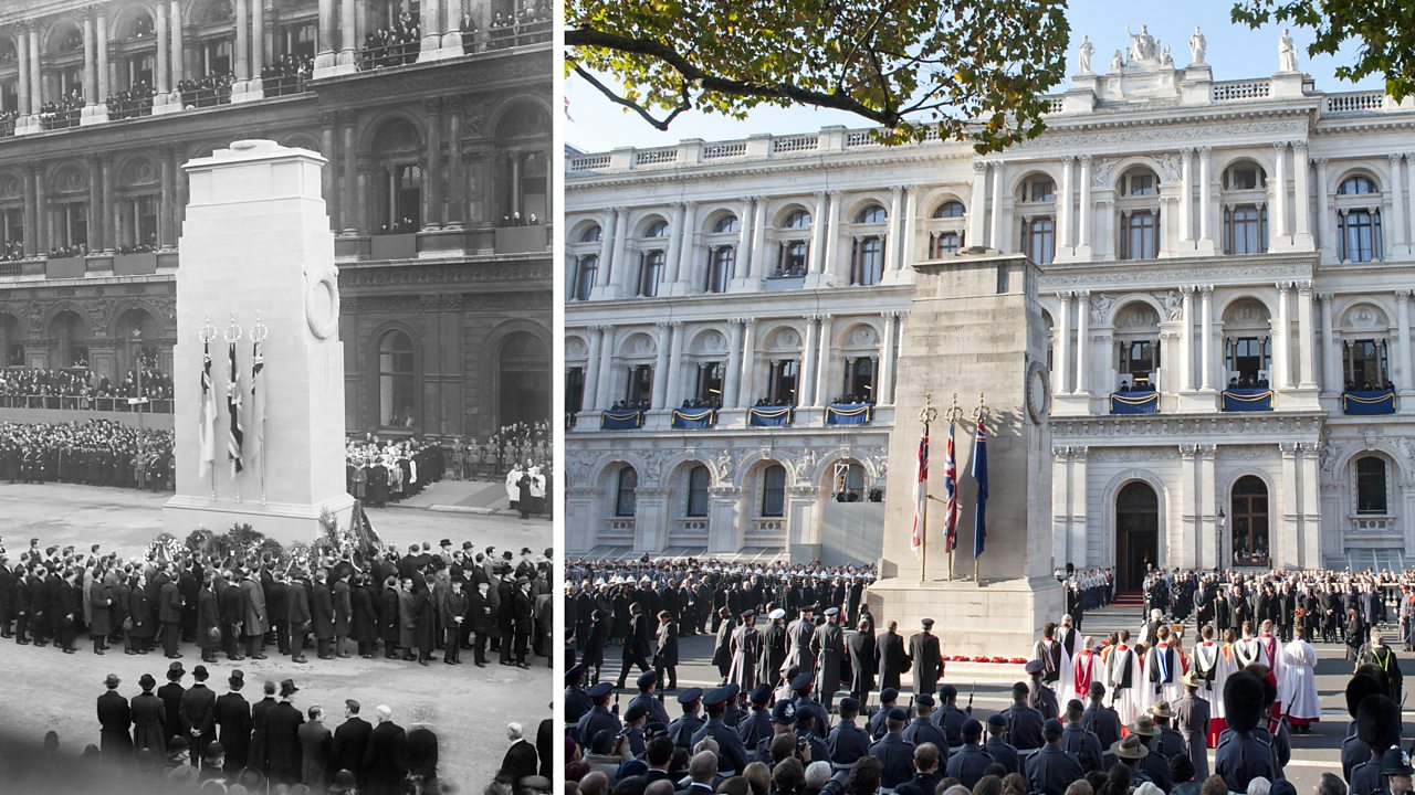Photograph of Remembrance Day service at The Cenotaph in London, 1920s and present day