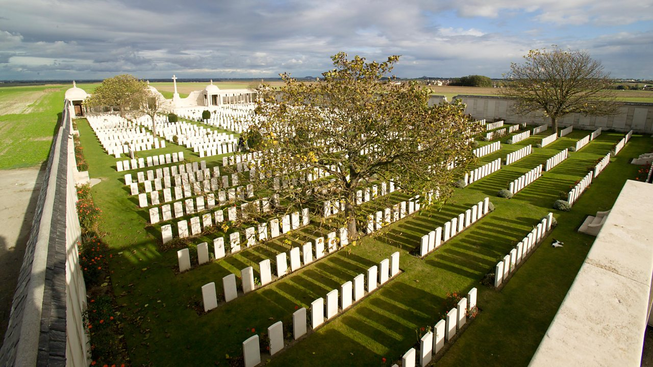 Dud Corner at the Bois-Carre British Cemetery in France which contains 174 known graves and 53 unknown burials