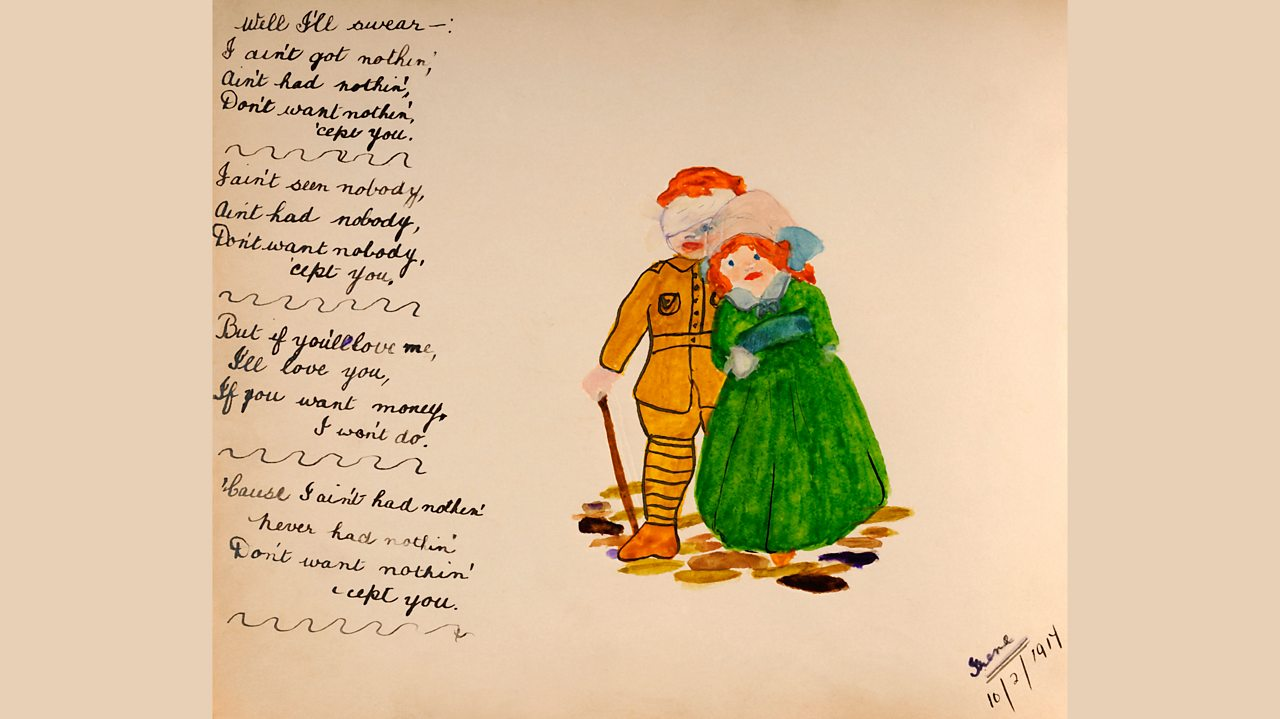 A wounded soldier hand-written poem and a watercolour of him with his sweetheart in 1917