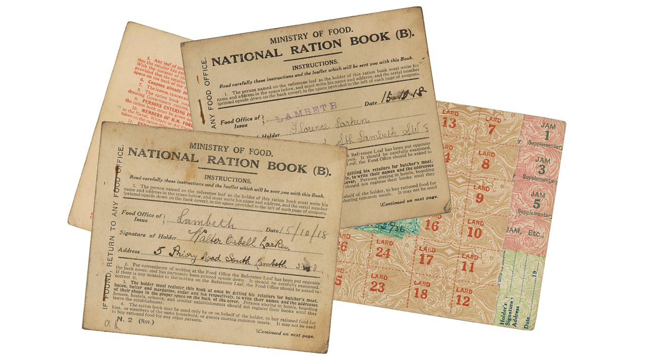 A collection of World War One ration books