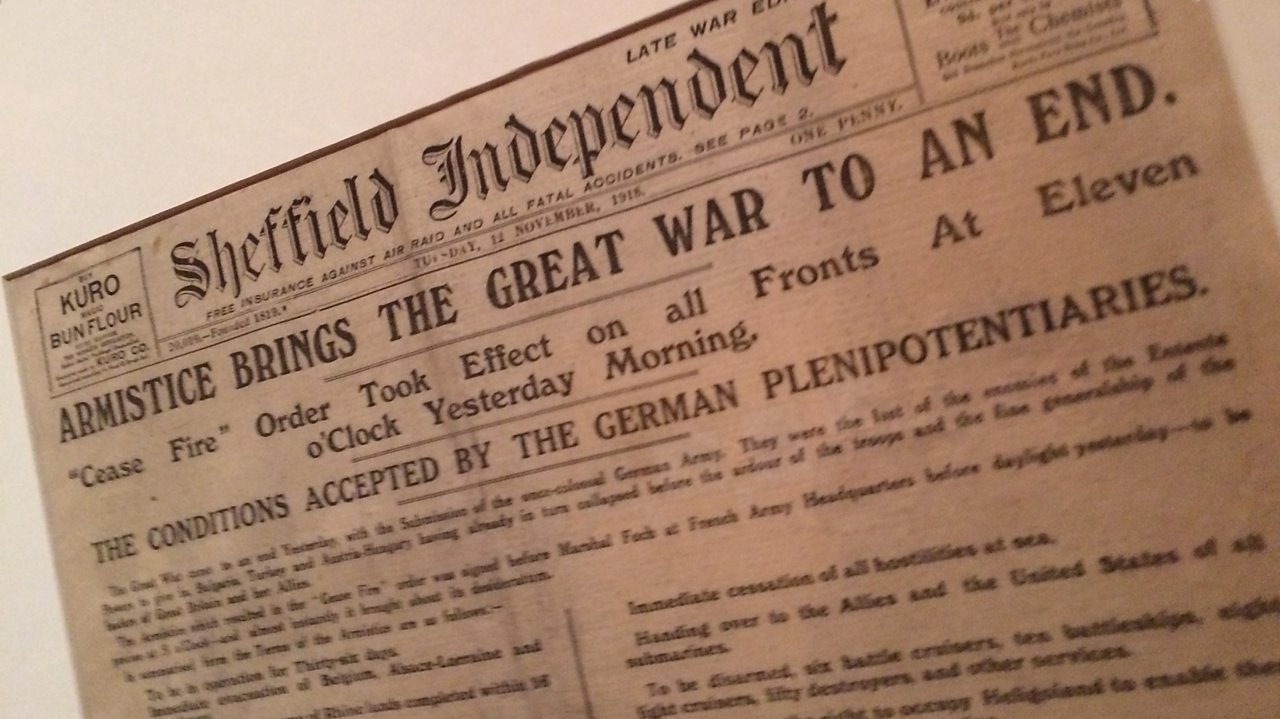 The Sheffield Independent reports on the end of the war.
