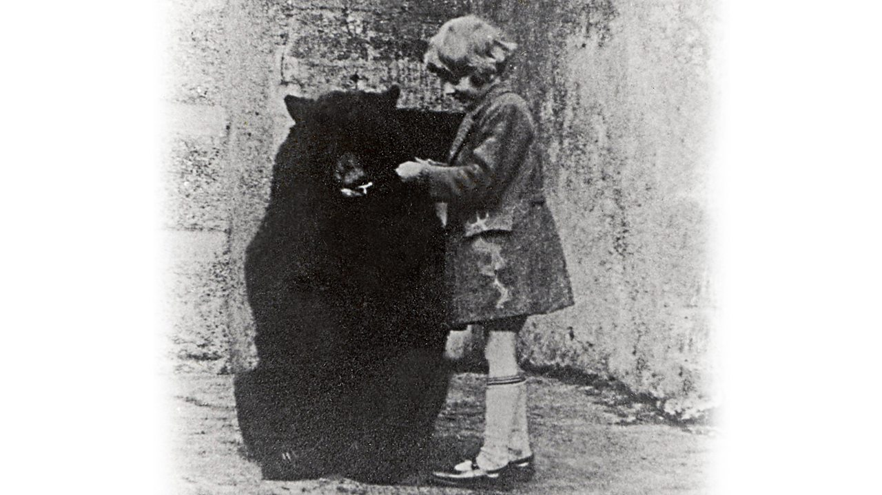 Winnie the bear with Christopher Robin at London Zoo
