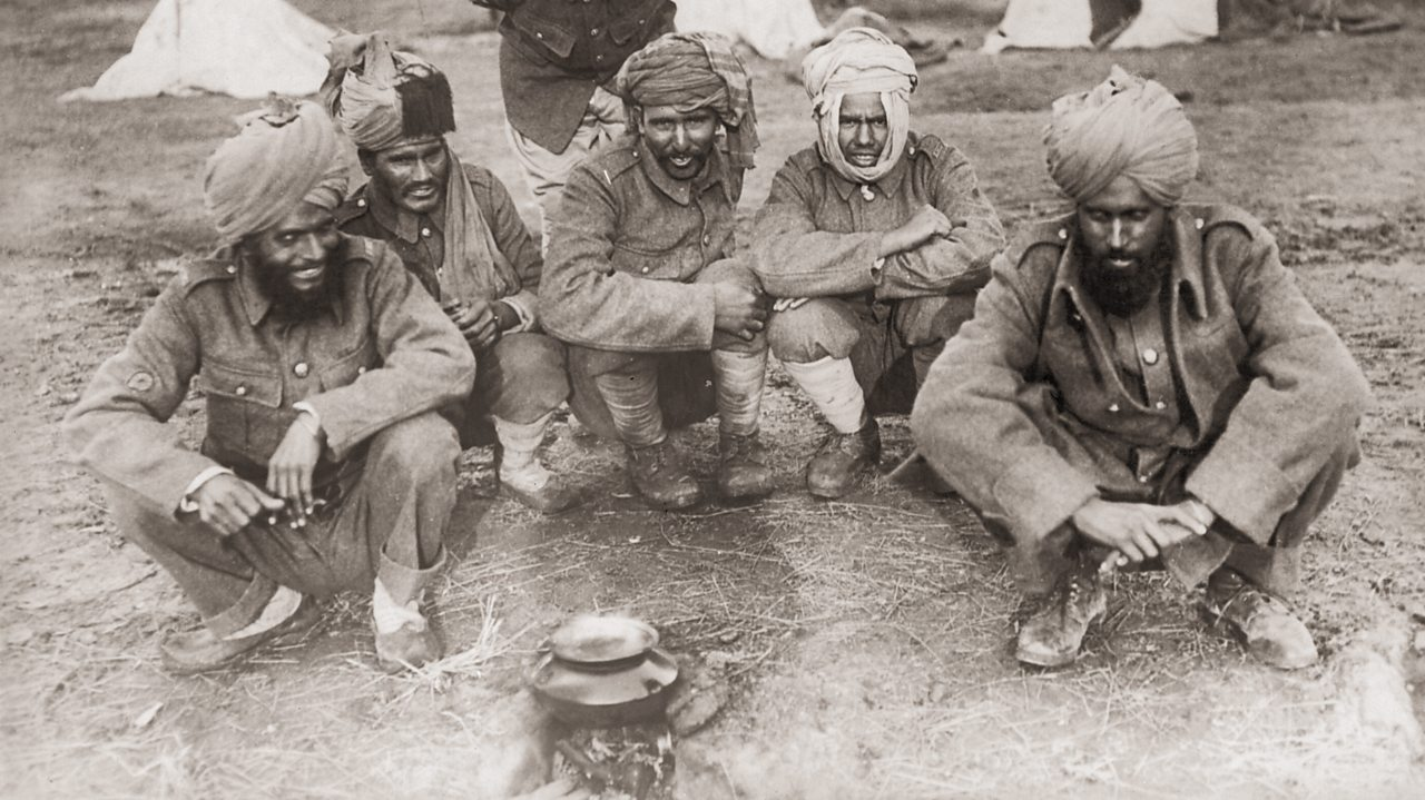 Indian soldiers serving with the British Army at camp during World War One
