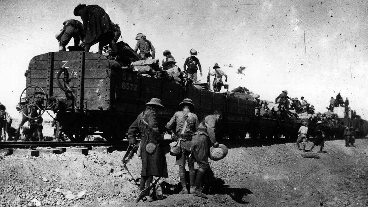 Rhodesian soldiers getting off a train in the desert in South West Africa in September 1915.