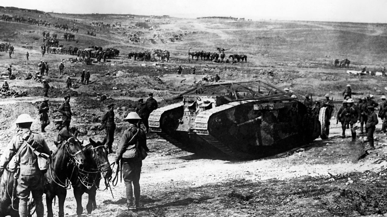 A Mark I tank on the Western Front on 15th September 1916