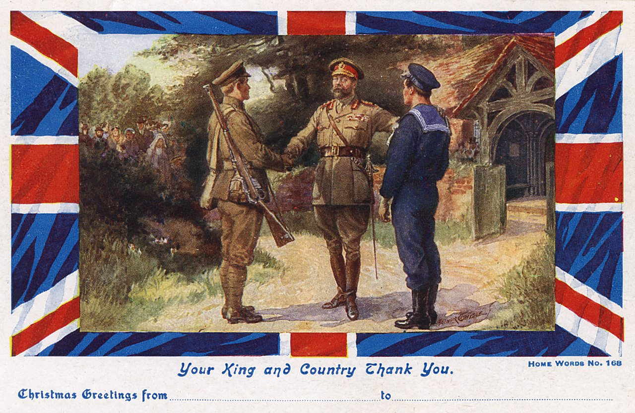 Postcard showing King George V offering thanks to the Army and Navy, Christmas 1918