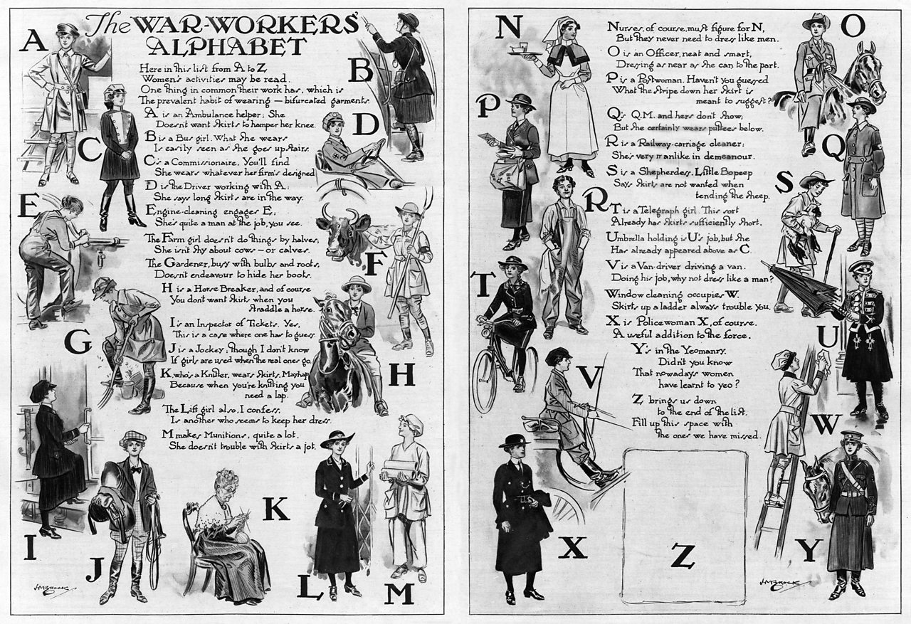A poster showing an A to Z of the different roles women worked in during World War One