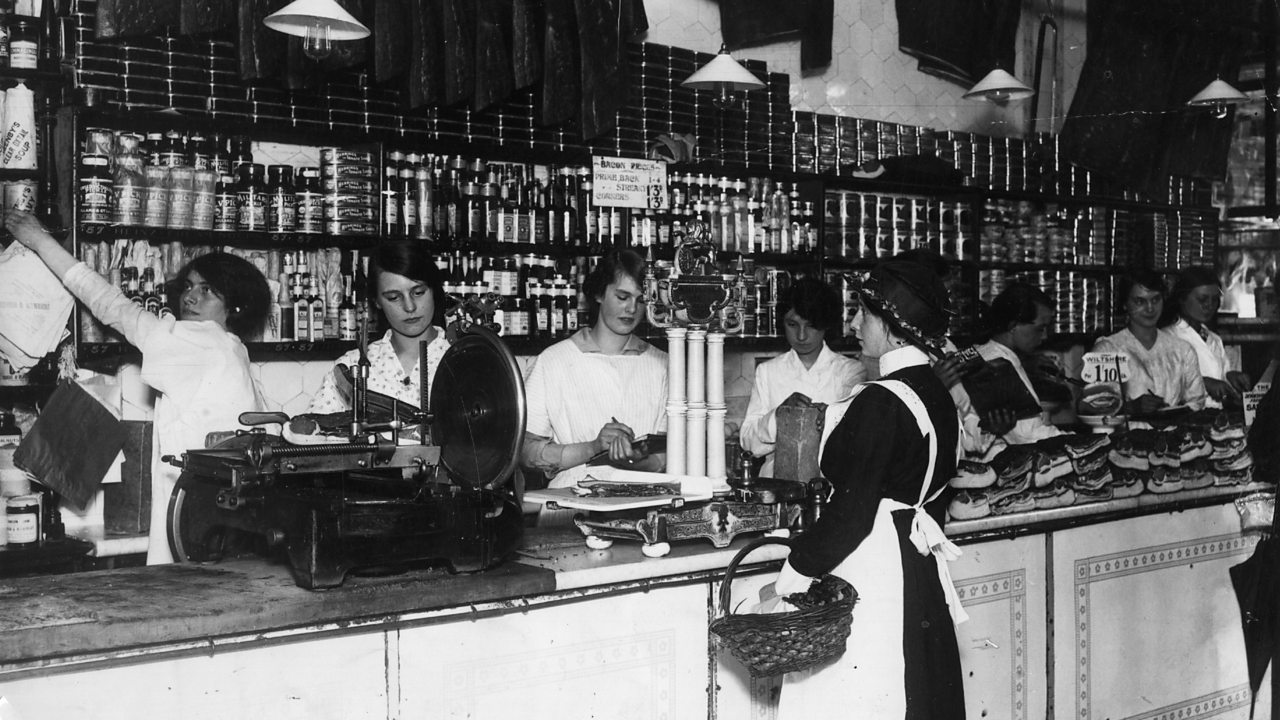 Women serving in a grocer's shop in August 1915