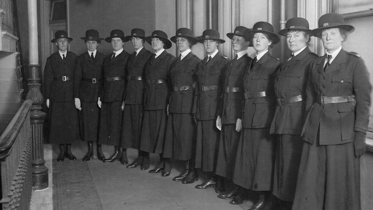 A line of newly recruited policewomen ready for duty in the early 1900s