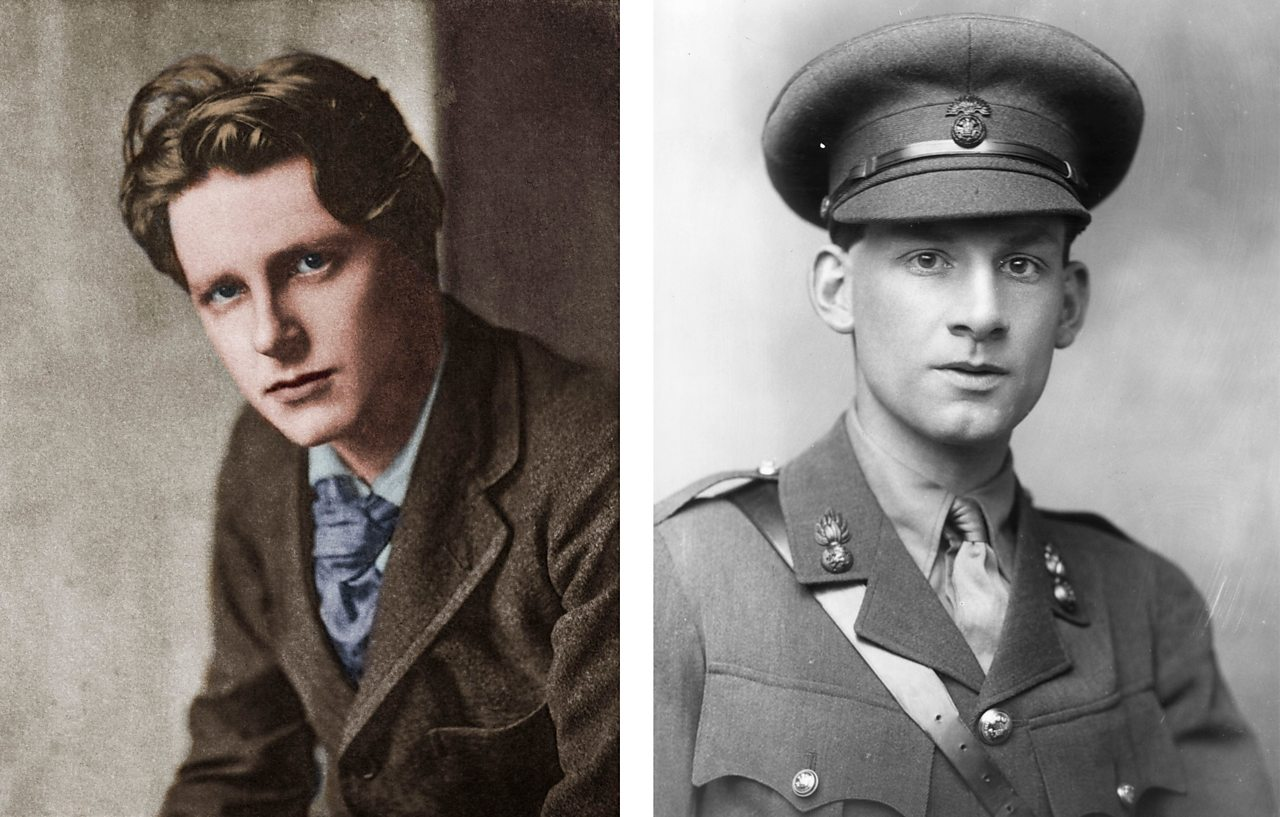 Portraits of World War One poets Rupert Brooke and Sigfried Sassoon