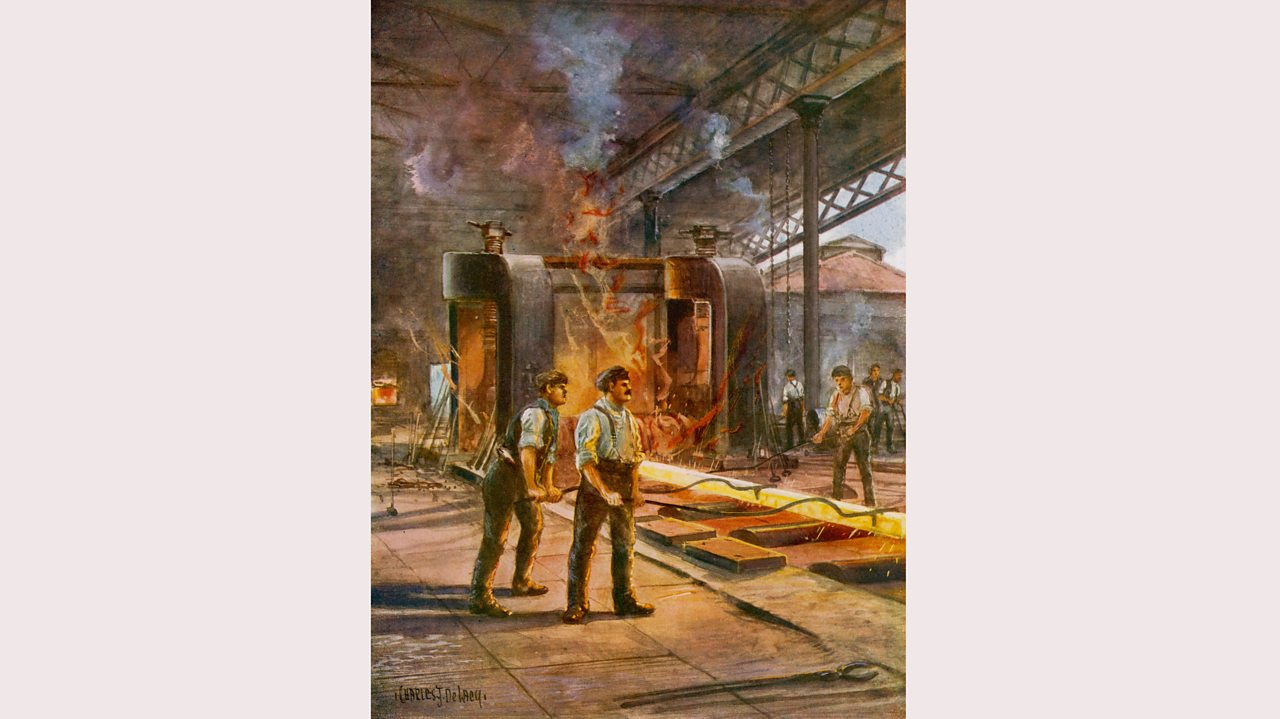 Steel workers rolling steel in a British steelworks in the early 1900s