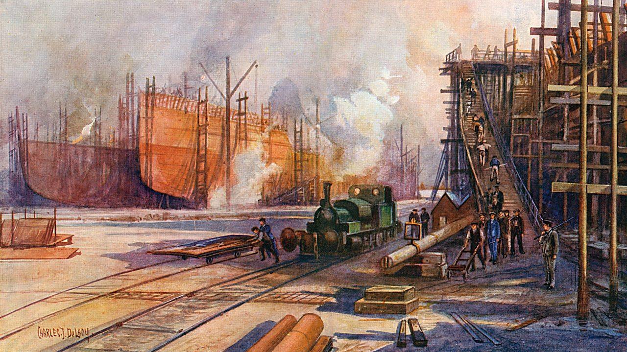 Illustration of a British shipyard during World War One