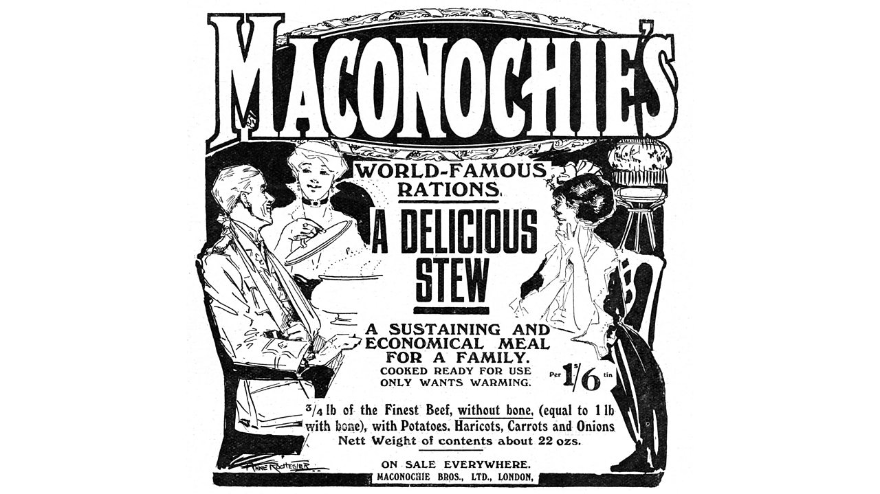 An advert for Maconochie meat stew during World War One