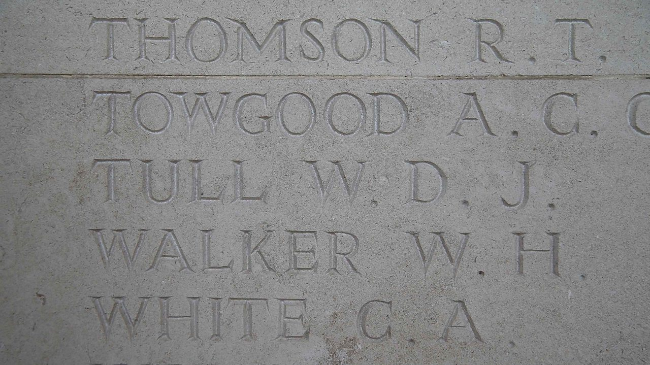 Walter Tull's name is inscribed on the Arras Memorial