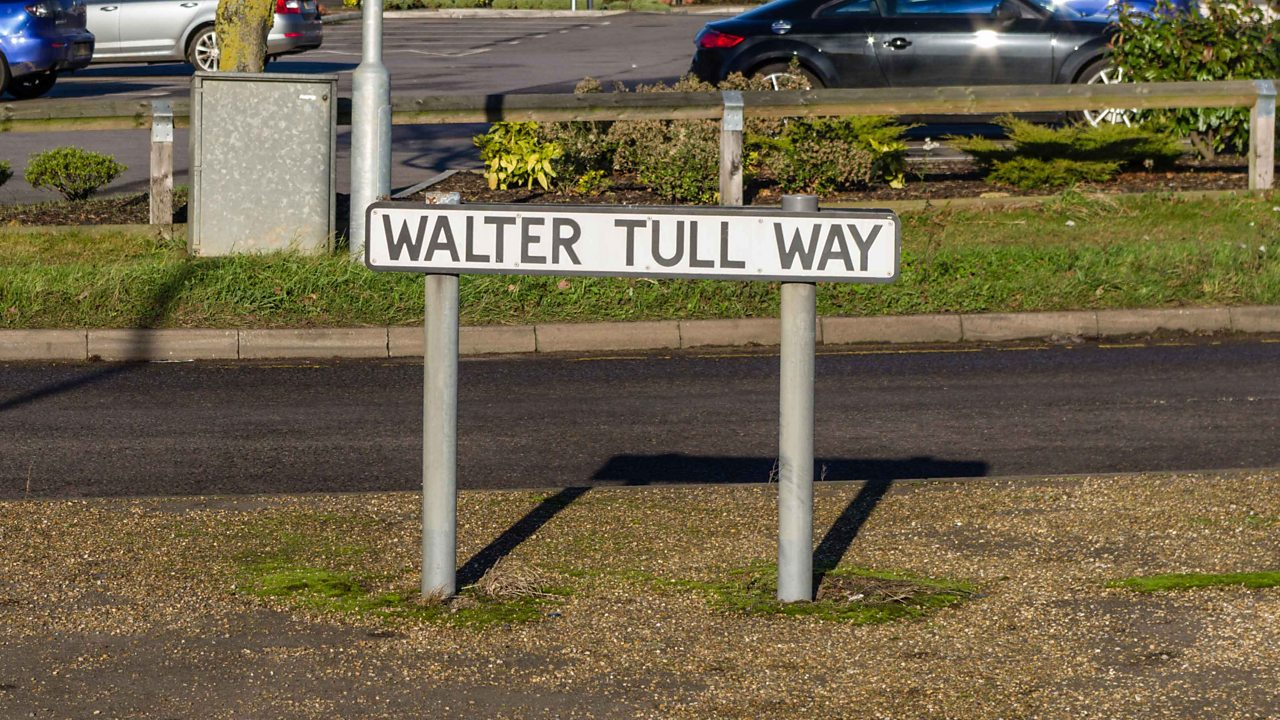 A road sign named Walter Tull way