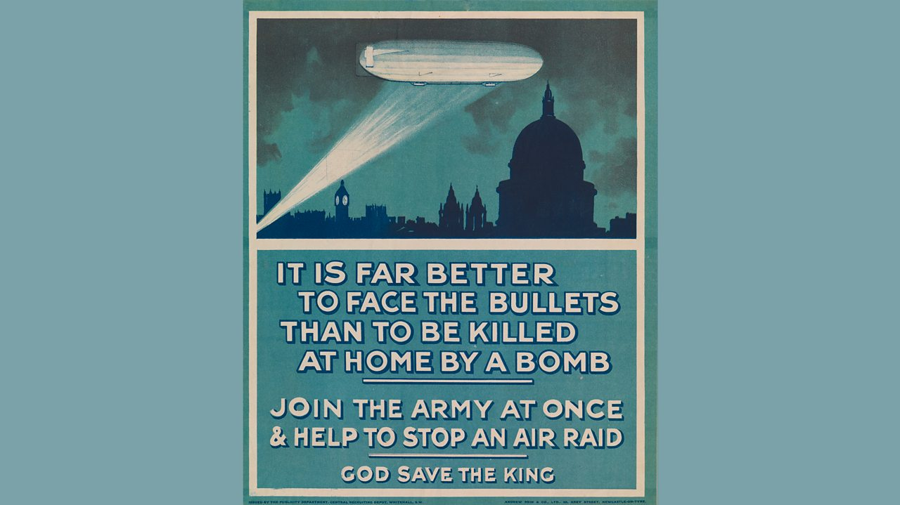 A poster about air raids encouraging men to enlist in the army from World War One