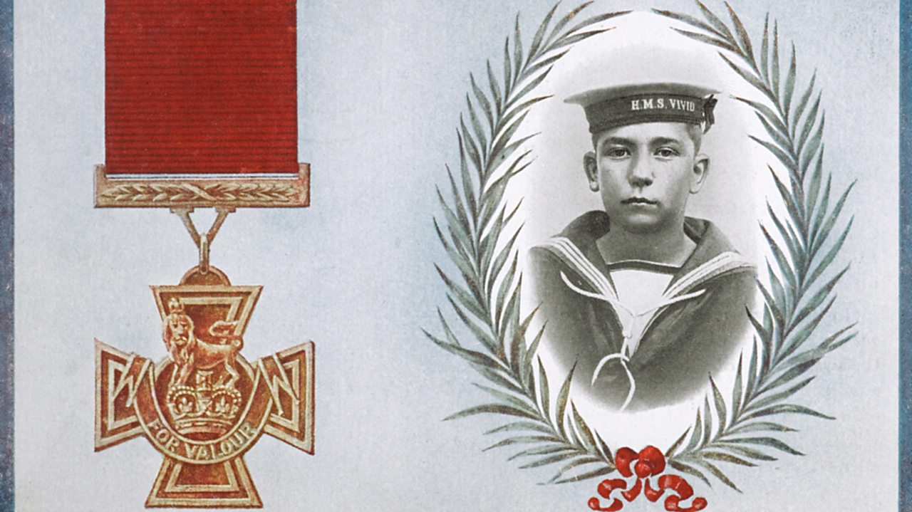 An image of Jack Cornwell next to an illustration of the Victoria Cross medal
