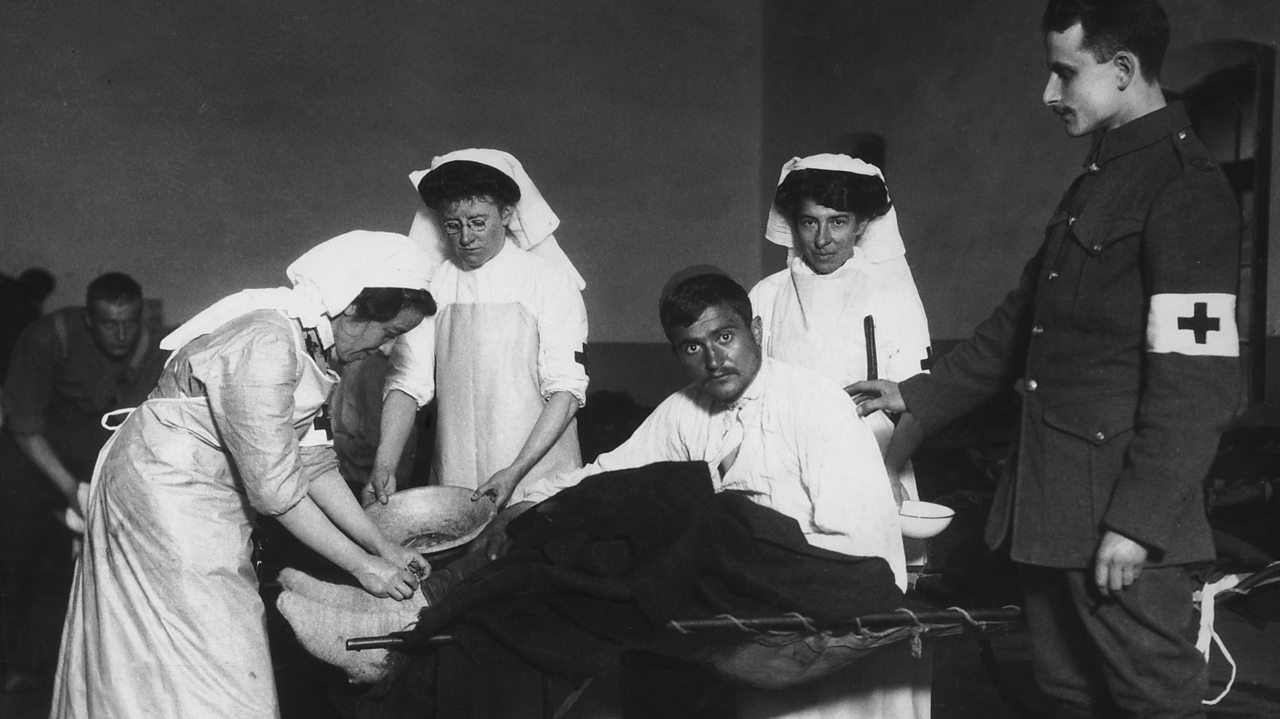 British Red Cross nurses treat a patient in Montenegro during World War One