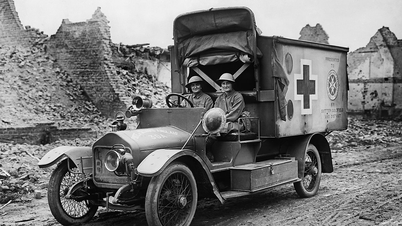 Two women driving an ambulance on the front line of World War One
