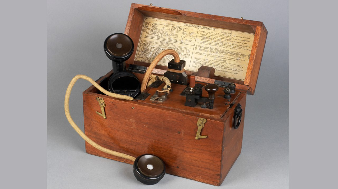A telephone of the type used in trenches in World War One
