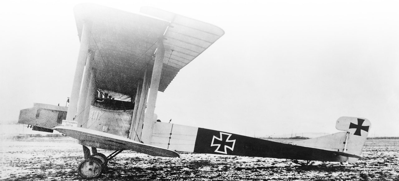 A German Gotha bomber plane stationary on an airfield