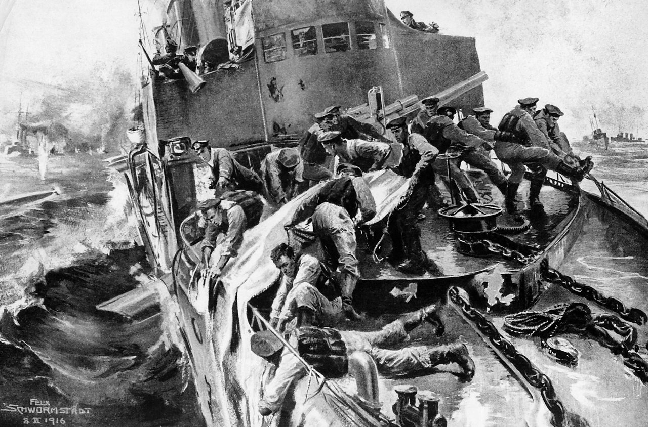 Sailors on a German destroyer attempting to repair the damage on the ship