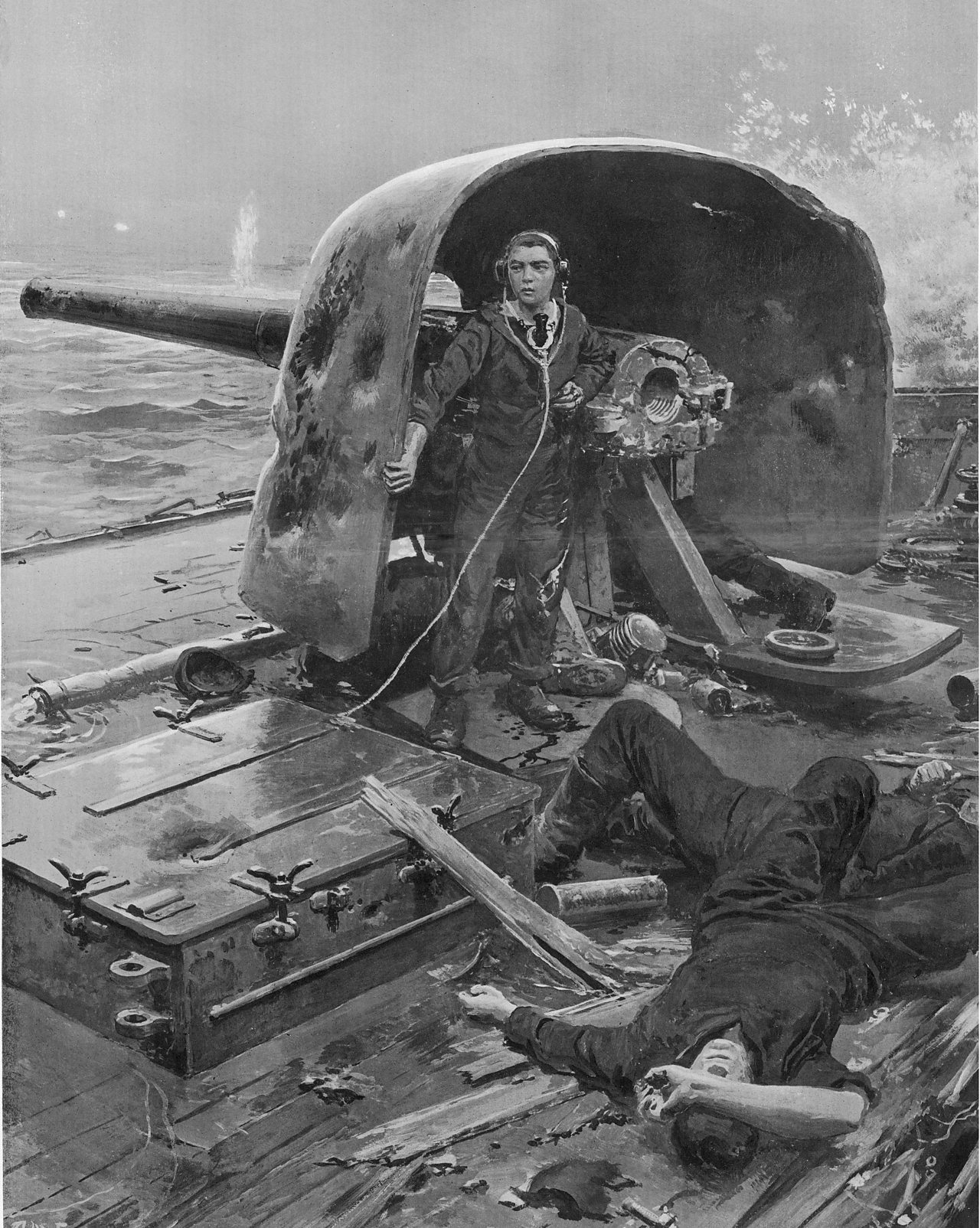 An image of Jack Cornwell helping out during the Battle of Jutland