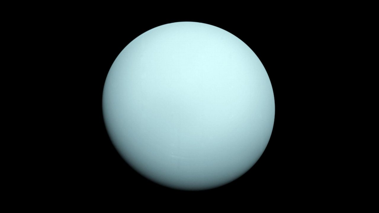 An image of Uranus taken from the Voyager 2 in 1986