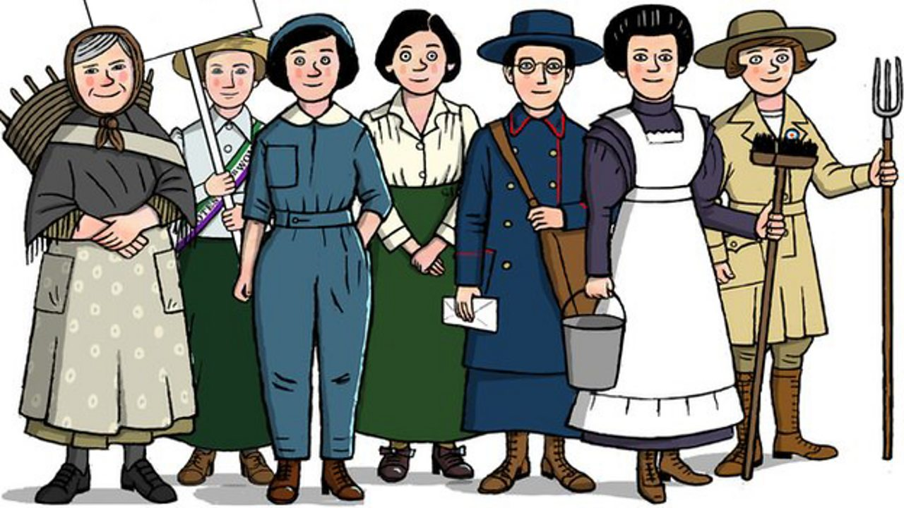 An illustration of working women from offices, farms and others during World War One