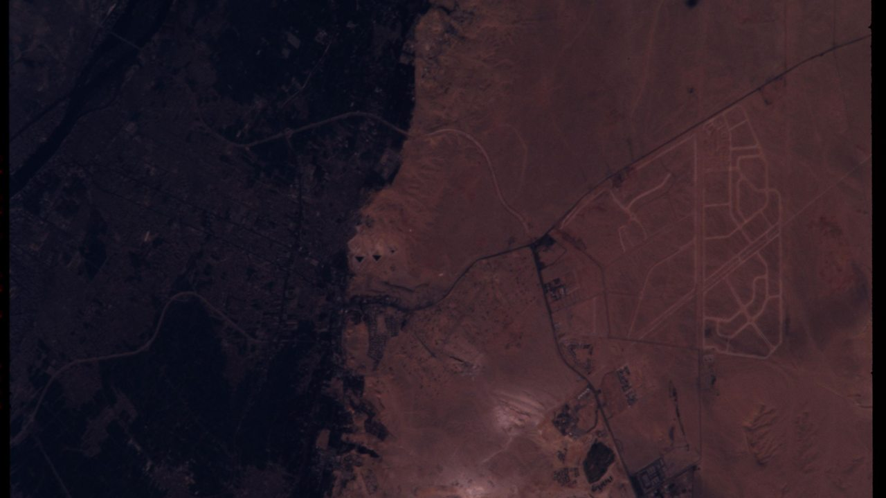 A photo of The Pyramids of Giza taken from the International Space Station