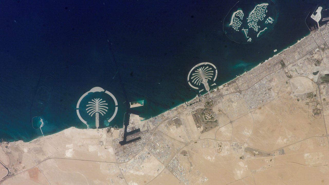 A photo of Palm Islands off the coast of Dubai taken from the ISS