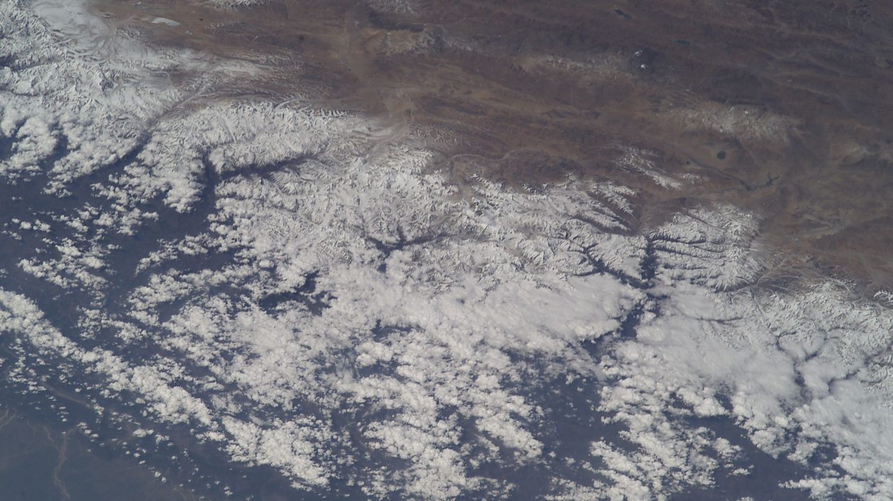 A photo of the Himalayas taken from the International Space Station