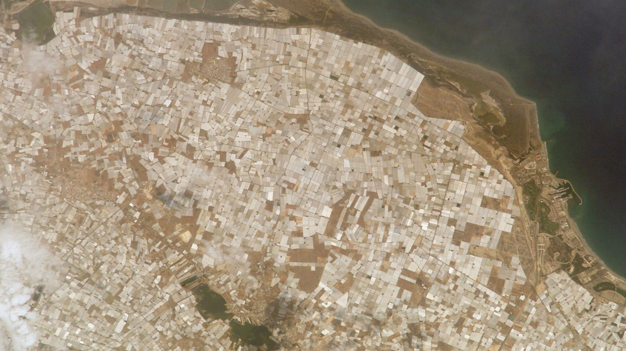A photo of the greenhouses at Almeria taken from the International Space Station