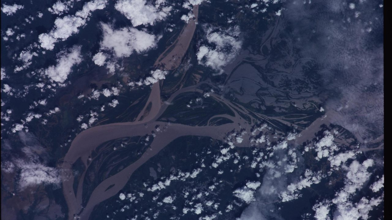 A photo of the Amazon River taken from the International Space Station