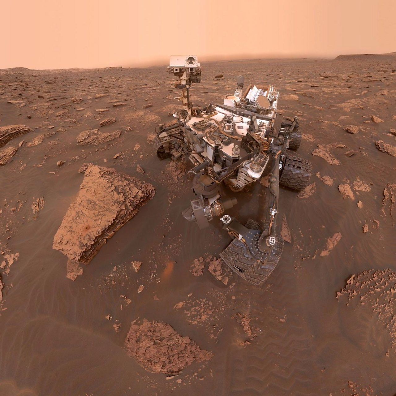 The Mars Rover takes its first selfie.