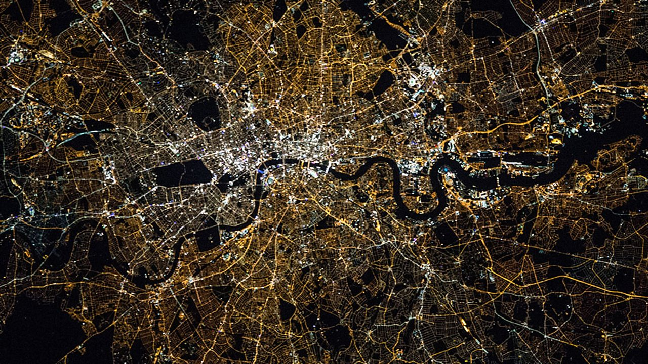 A photo of the river Thames in London taken from the International Space Station