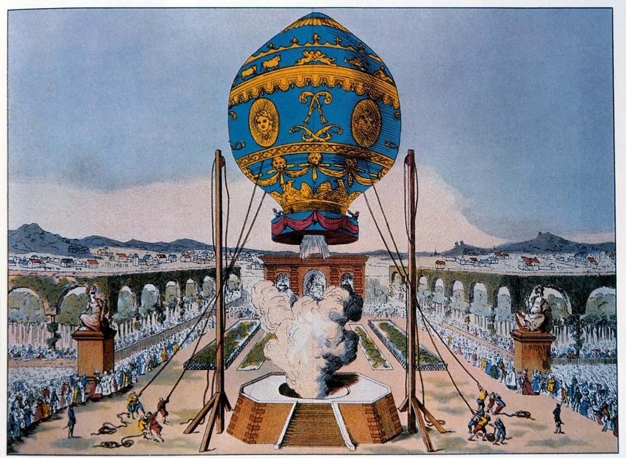 The Montgolfier Brothers demo their hot air balloon.