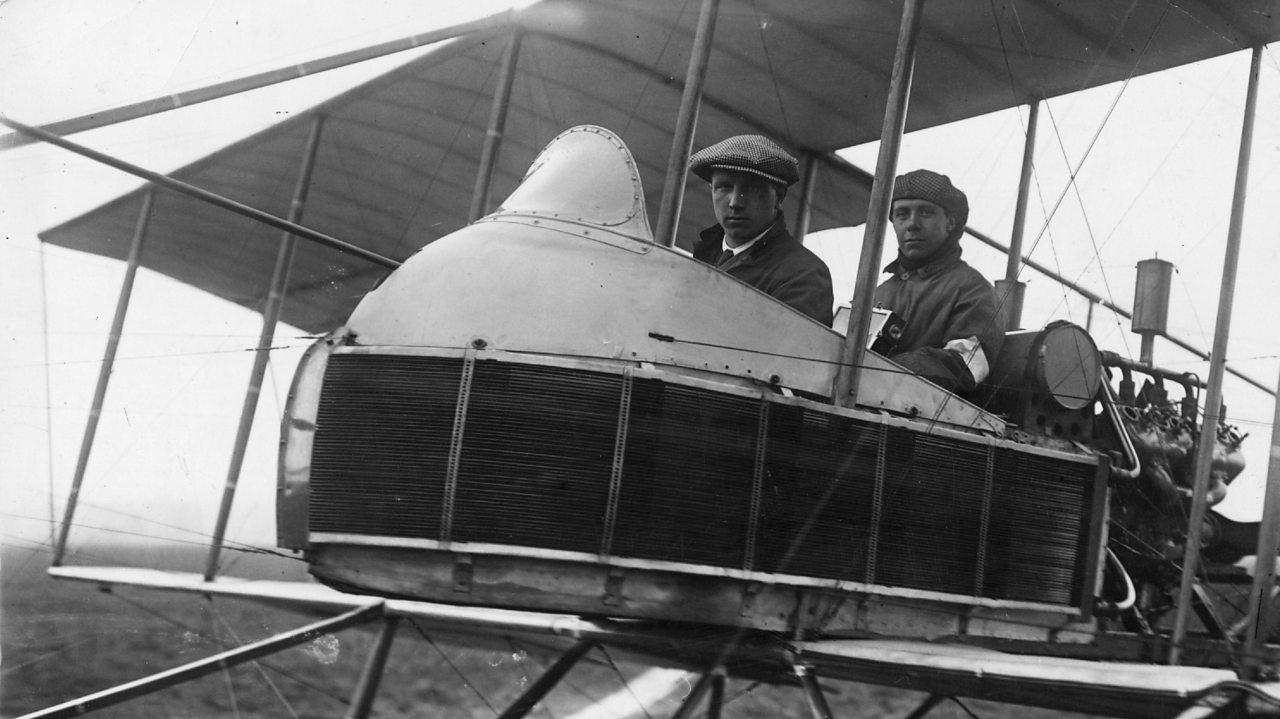 British aviators John Alcock and Arthur Brown in their plane.