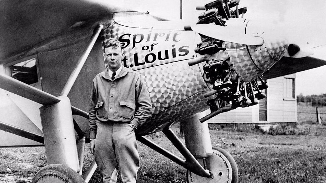 Charles Lindbergh with his Spirit of St Louis plane.