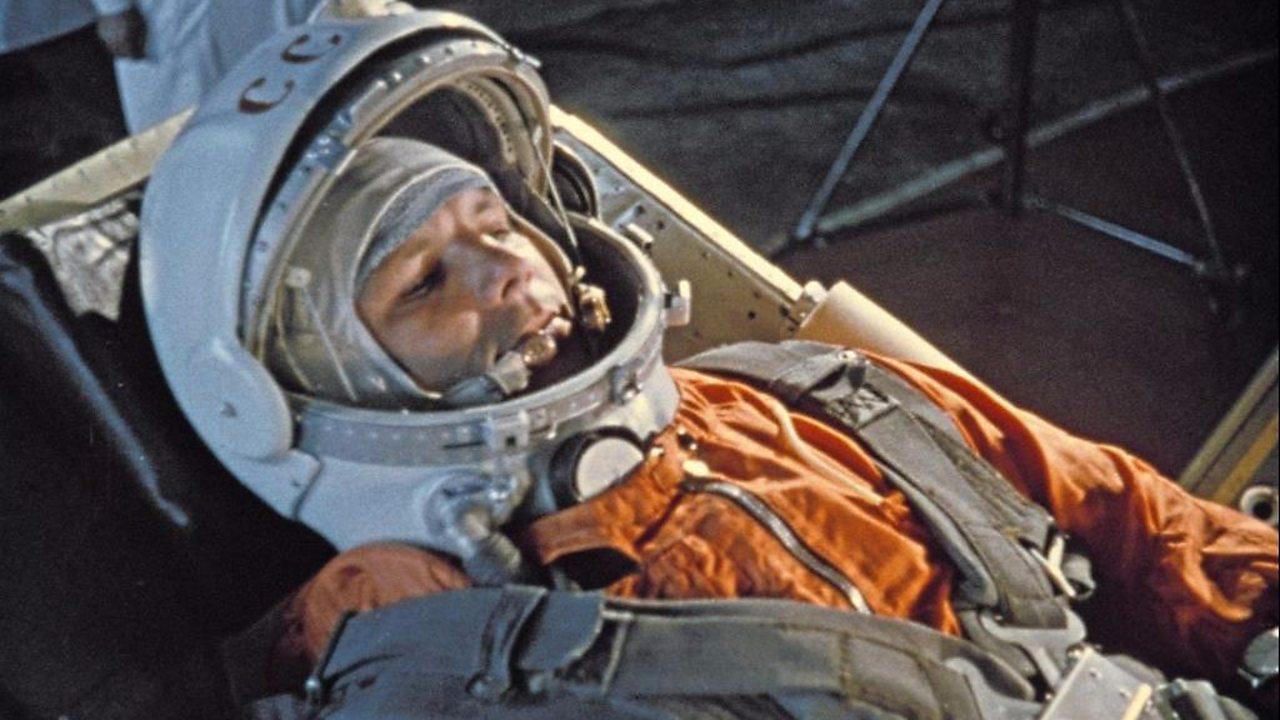 Russian cosmonaut Yuri Gagarin prepares for take off.
