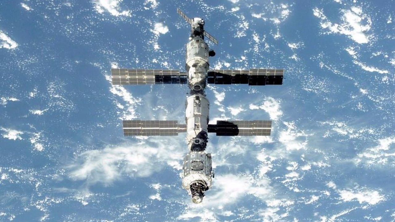 The International Space Station orbits the Earth.