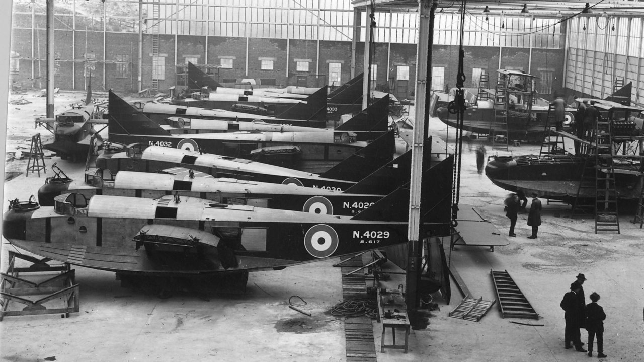 Military planes in the Short Brothers factory.