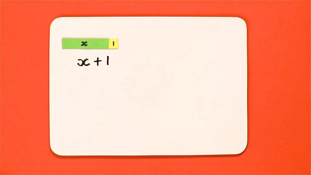 When adding a number to x we use the plus symbol and the number: x + 1.